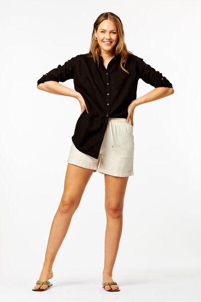 dames blouse met linnen zwart - 1000024289 - HEMA