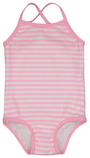 baby badpak rib strepen fluor roze fluor roze - 1000023095 - HEMA