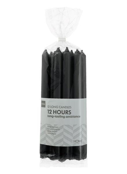 huishoudkaarsen - 12 stuks - zwart - 13503362 - HEMA