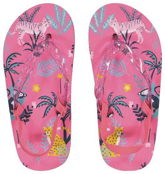 kinder teenslippers jungle roze roze - 1000023106 - HEMA