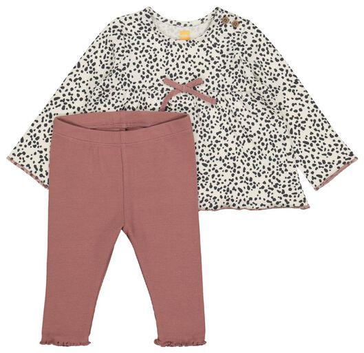 newborn setje tuniek en legging oudroze 56 - 33410912 - HEMA