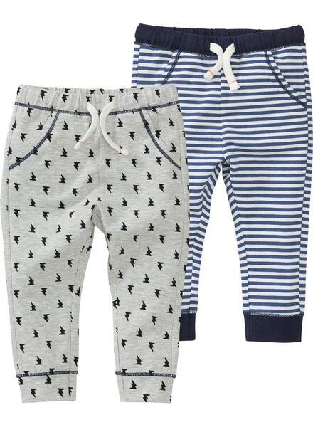 2-pak baby broeken grijsmelange - 1000004274 - HEMA