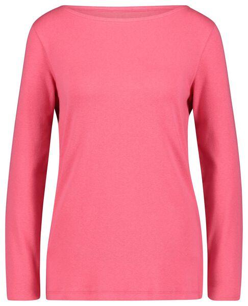 dames t-shirt boothals roze XL - 36228399 - HEMA