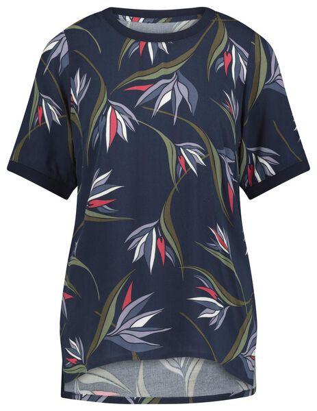 dames t-shirt bladeren blauw blauw - 1000021439 - HEMA