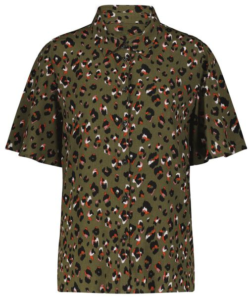 damesblouse leopard lichtgroen lichtgroen - 1000024011 - HEMA
