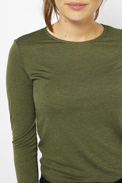 dames t-shirt met glitter olijf olijf - 1000021440 - HEMA