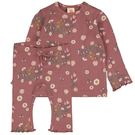 newborn set t-shirt en legging rib bloemen roze 62 - 33421613 - HEMA