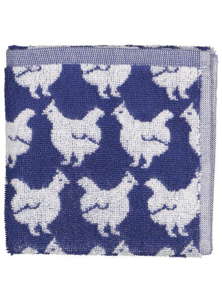 HEMA Keukendoek - 50 X 50 - Katoen - Wit/blauw Kippen (donkerblauw)