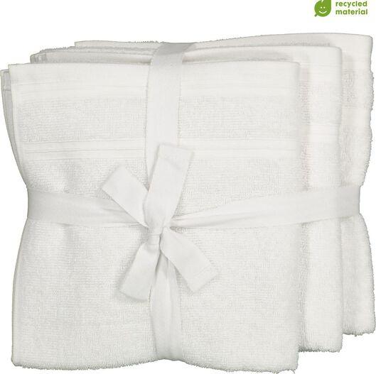 handdoeken - 50 x 100 cm - katoen met rPET - wit - 4 stuks - 5230001 - HEMA