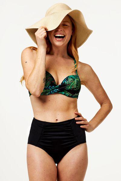 dames bikinislip high waist medium control zwart M - 22340272 - HEMA