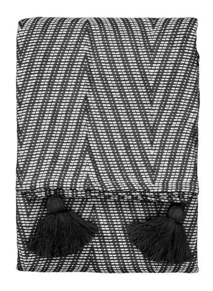 plaid 130 x 150 cm zwart wit - 7391025 - HEMA