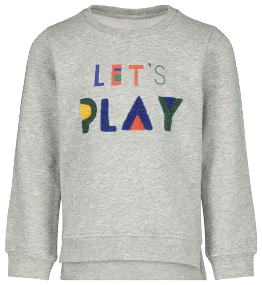 kindersweater let's play grijsmelange - 1000020608 - HEMA
