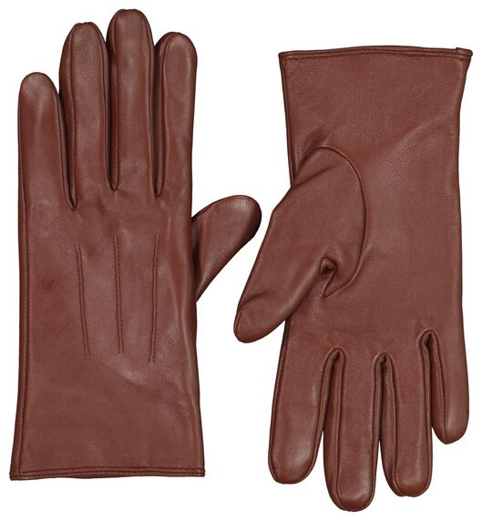 dameshandschoenen touchscreen leer cognac cognac - 1000020397 - HEMA