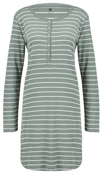 dames nachthemd katoen strepen groen M - 23421772 - HEMA