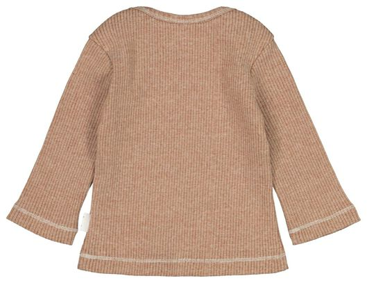 newbornsetje t-shirt en broek rib bruin bruin - 1000020597 - HEMA