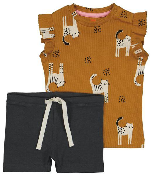babyset t-shirt en broek bruin bruin - 1000023837 - HEMA