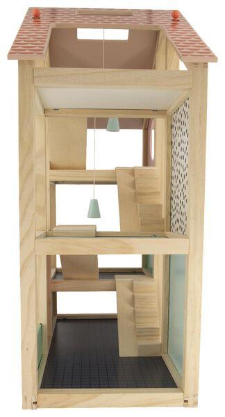 poppenhuis gemeubileerd hout 52x24x61.5 - 15130100 - HEMA