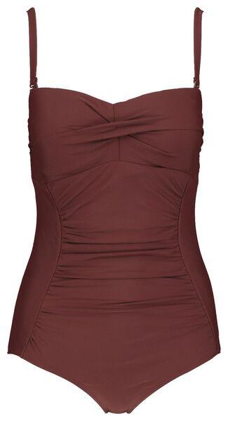 dames badpak strapless medium control recycled donkerrood donkerrood - 1000017916 - HEMA