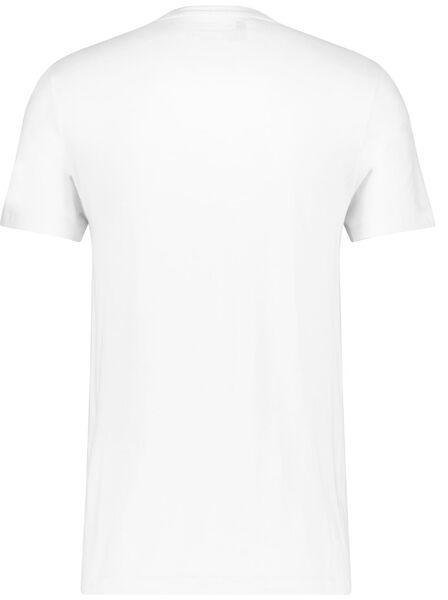 heren t-shirt slim fit o-hals extra lang bamboe wit wit - 1000016218 - HEMA