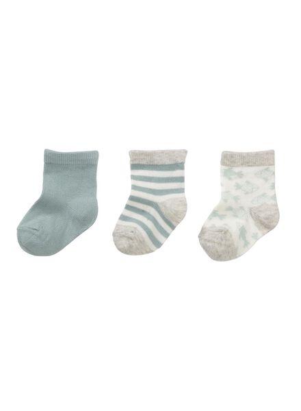 3-pak babysokken grijsmelange grijsmelange - 1000006451 - HEMA