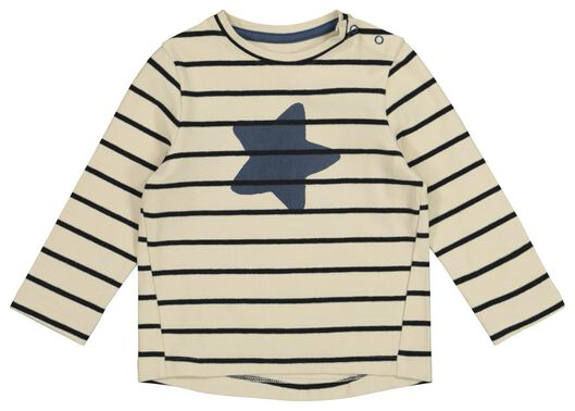 baby t-shirt strepen en ster gebroken wit 74 - 33127503 - HEMA