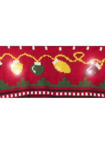 heren kersttrui met lampjes rood rood - 1000010373 - HEMA