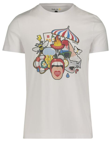 t-shirt regular fit - Studio Job wit wit - 1000018461 - HEMA