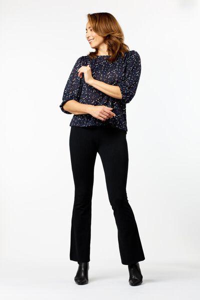 dames t-shirt met pofmouw donkerblauw S - 36234166 - HEMA
