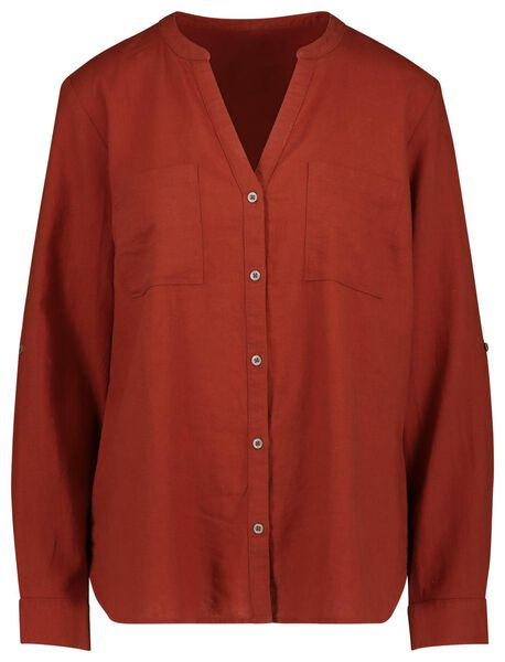 damesblouse met linnen bruin bruin - 1000019626 - HEMA