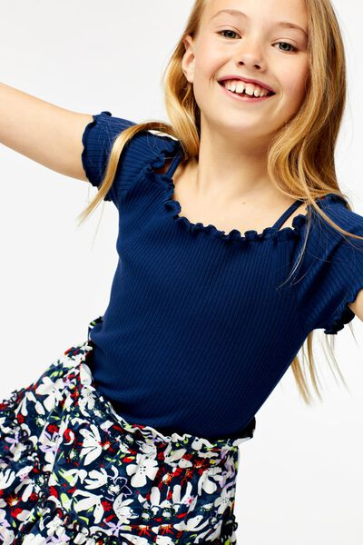 kinder top off shoulder rib donkerblauw - 1000023804 - HEMA