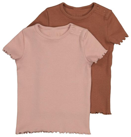baby t-shirt rib 2 stuks roze 62 - 33011041 - HEMA