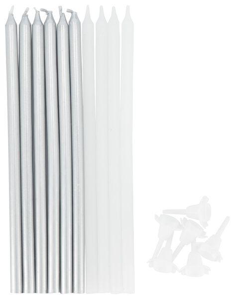 taartkaarsjes 13.5 cm - zilver en wit - 10 stuks - 14210144 - HEMA