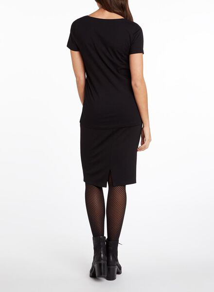 dames t-shirt zwart S - 36397016 - HEMA