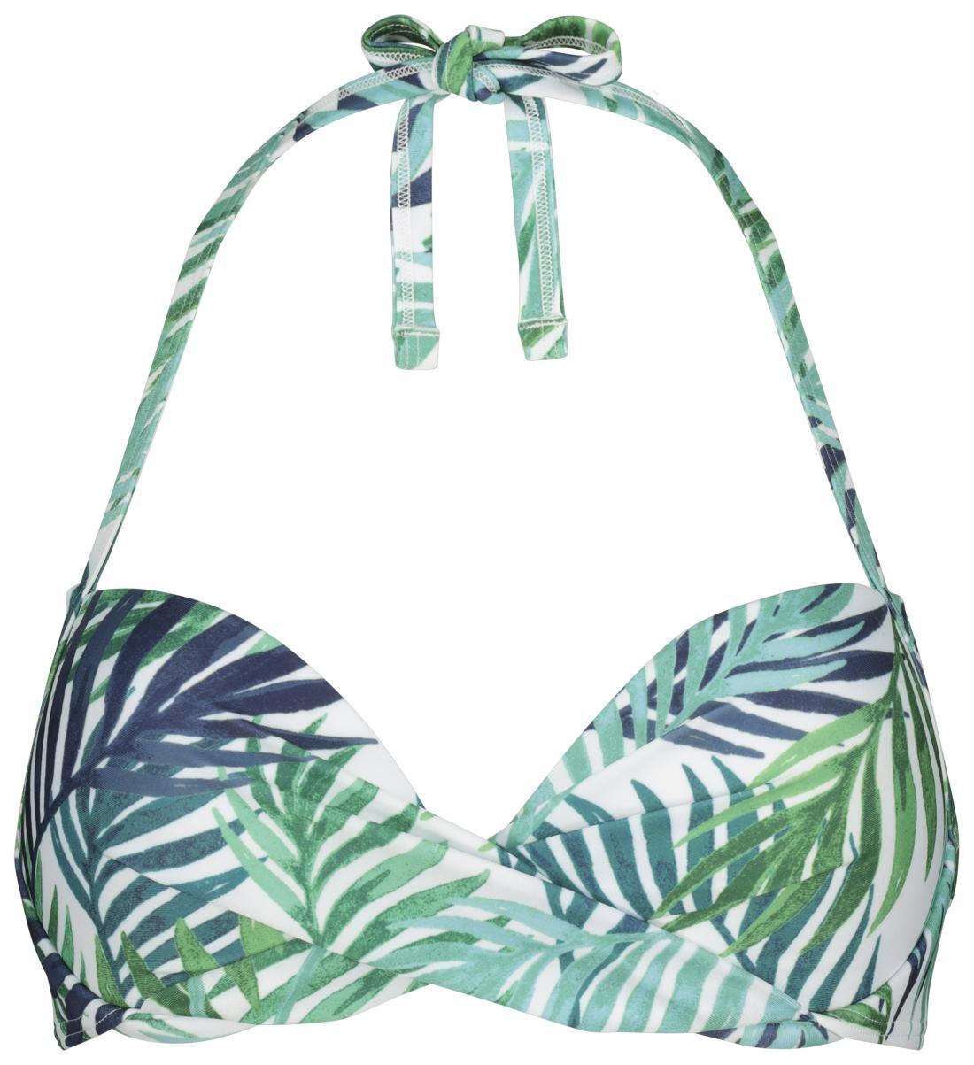 HEMA Dames Bikinitop Halter Push Up Cup A-D Recycled - Bladeren Blauw (blauw)