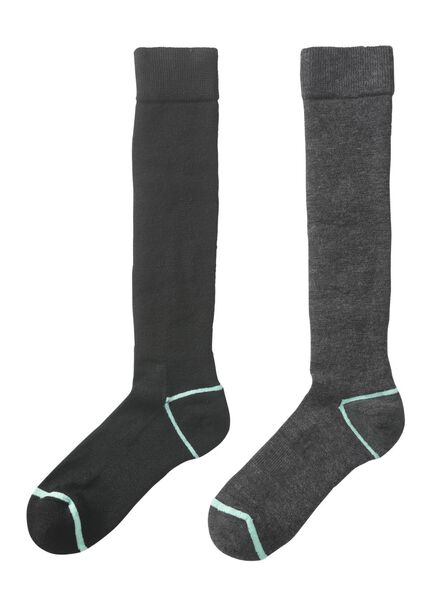 2-pak dames skisokken zwart zwart - 1000010421 - HEMA