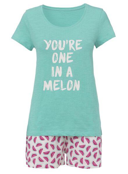 dames pyjama katoen groen groen - 1000013149 - HEMA