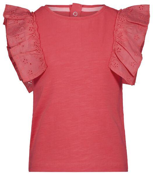 kinder t-shirt ruffle koraal koraal - 1000023630 - HEMA