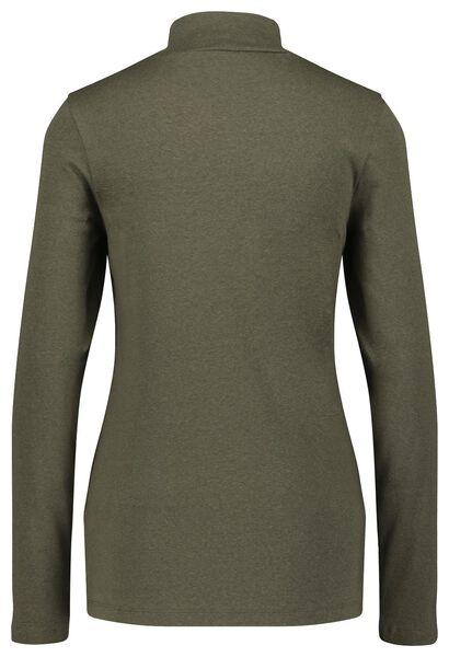 dames t-shirt met col olijf L - 36238378 - HEMA