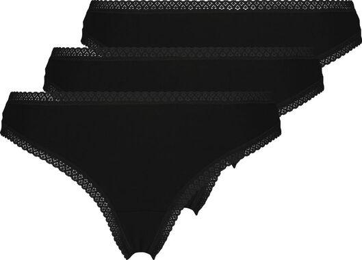 damesstrings - 3 stuks zwart zwart - 1000023086 - HEMA