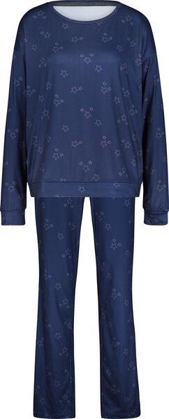 dames pyjama donkerblauw L - 23480543 - HEMA