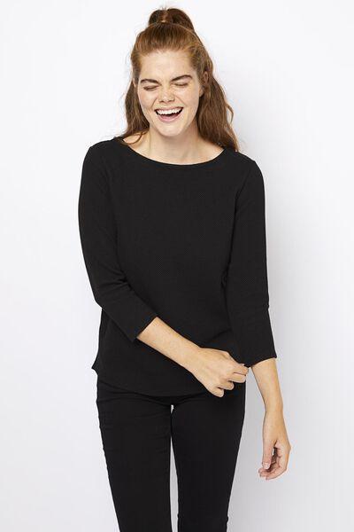 dames t-shirt structuur zwart zwart - 1000021225 - HEMA