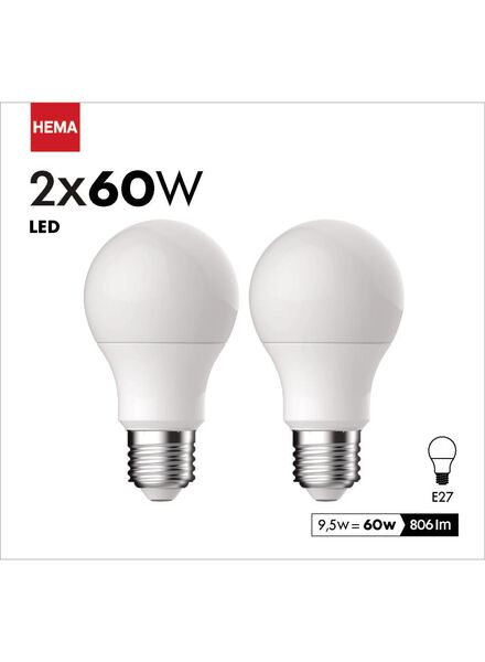 2-pak LED Kogellampen 9,5 watt - grote fitting - 806 lumen - 20090040 - HEMA
