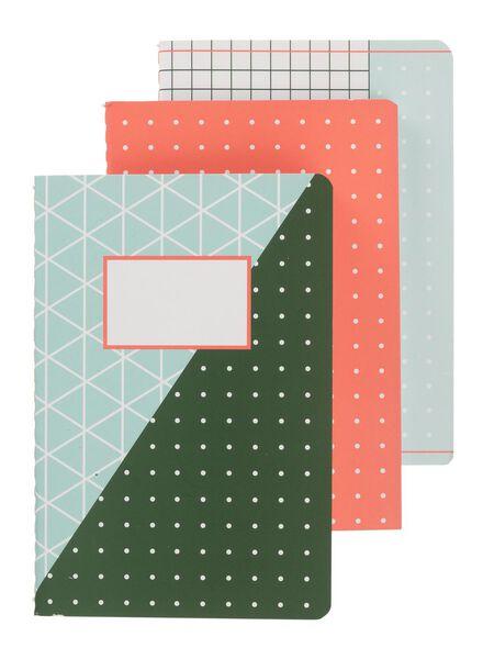3-pak notitieboekjes A6 - 14101345 - HEMA