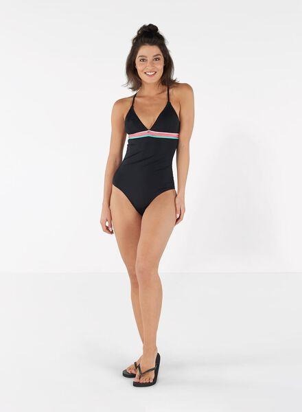 damesbadpak padded zwart zwart - 1000011812 - HEMA