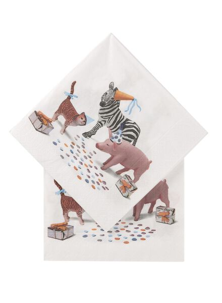 servetten - 33 x 33 - papier - feestende dieren - 20 stuks - 14230083 - HEMA