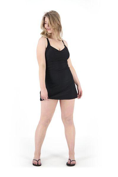 dames badpakjurk medium control recycled zwart zwart - 1000017899 - HEMA