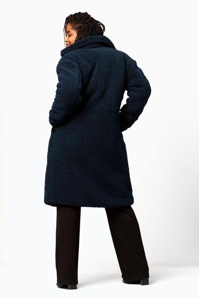 damesjas teddy donkerblauw M - 36233952 - HEMA