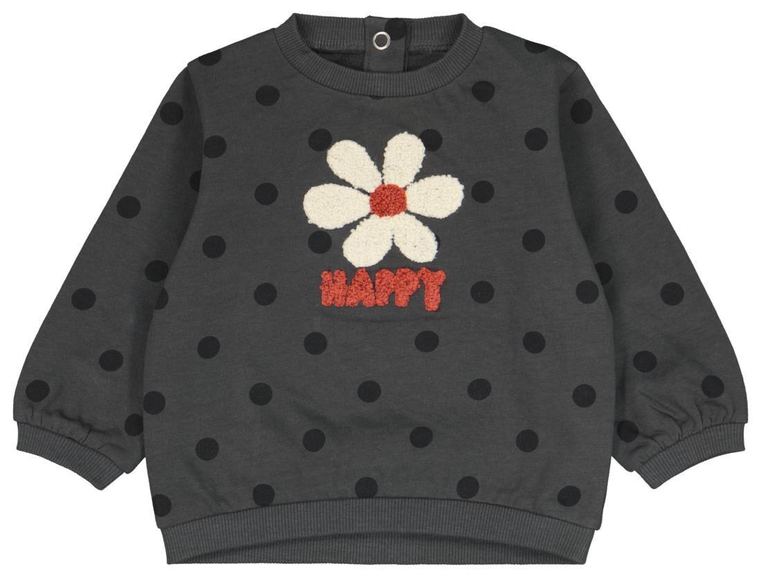 HEMA Babysweater Bloem Grijs (grijs)