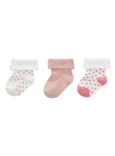 3-pak baby meisjessokken roze - 1000002123 - HEMA