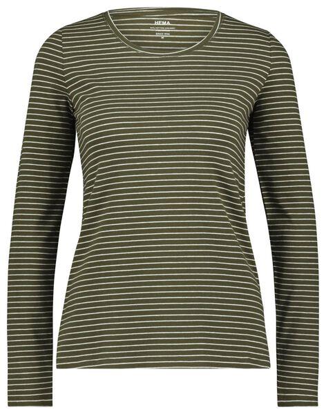 dames t-shirt smalle streep olijf olijf - 1000023499 - HEMA